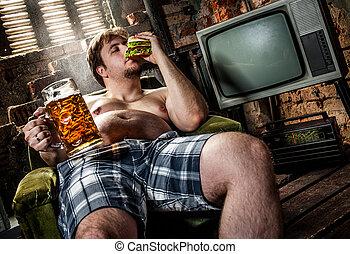 mangiare, hamburger, uomo grasso
