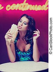 mangiare, kebab, club, donna, splendido, notte
