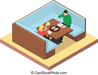 mangiare, pizza., seduta, coppia, giovane, tavola
