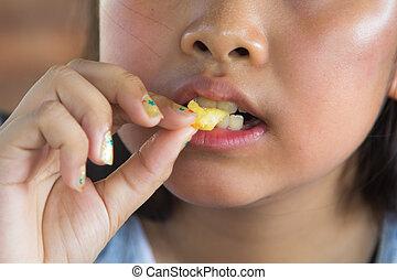 mangiare, ragazza, frigge, asiatico, francese