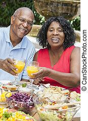 mangiare, sano, accoppi fuori, americano, africano, anziano