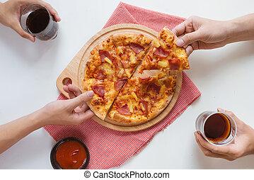 mangiare, ufficio, persone affari, digiuno, cibo., squadra, felice, mangiare, pizza