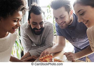 mangiare, ufficio, squadra affari, felice, pizza