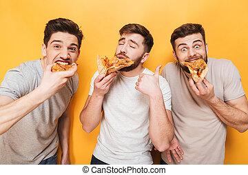 mangiare, uomini, giovane, tre, ammirato, pizza