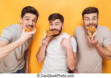 mangiare, uomini, giovane, tre, soddisfatto, pizza