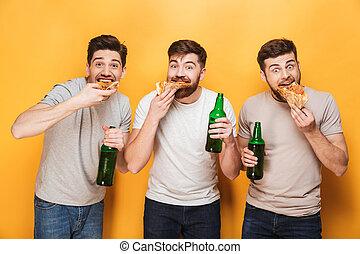 mangiare, uomini, tre, giovane, birra, bere, pizza, felice
