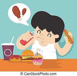 mangiare, uomo grasso