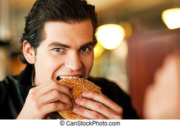 mangiare, uomo, hamburger, ristorante
