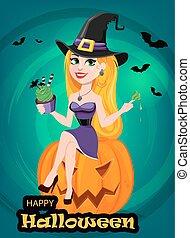 mangiare, zucca, il portare, strega, augurio, cappello, halloween, seduta, card., signora, bello, pellegrino, cake.