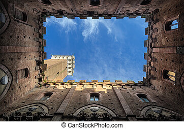 Mangia's Tower. The Tower of Piazza del Palio. Siena Italy
