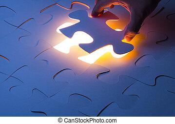 mangle, jigsaw gåde, stykke, hos, lys, glød