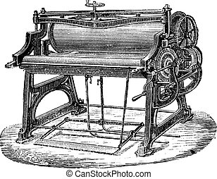 Old engraved illustration of mangle or wringer. Industrial encyclopedia E.-O. Lami - 1875.