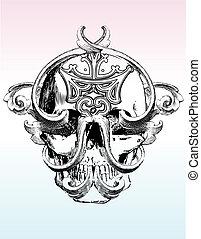 Mangled skull illustration