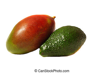 Mango and avocado isolated on white background