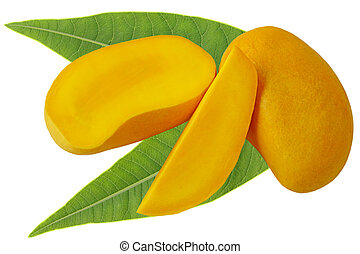 Mango and Leaves - Mangoes with leaves isolated on white