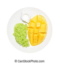 Mango and sticky rice isolated on white background, Thai dessert