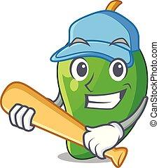 mango, baseball, karikaturen, korb, grün, spielende