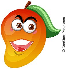 Mango cartoon character with happy face expression on white background