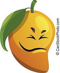 Mango cartoon face not feeling good illustration vector on white background