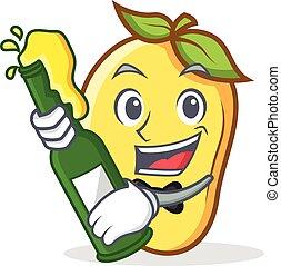 mango character cartoon mascot with beer vector illustration