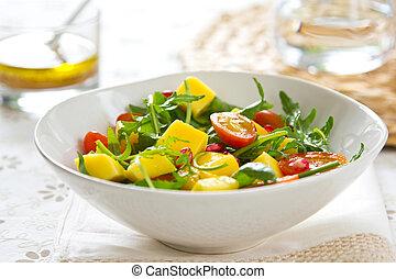 mango, con, melagrana, insalata