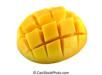 Fresh and colorful mango cut and cubed in its skin.