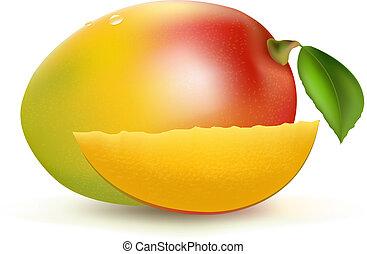 Mango, Isolated On White Background, Vector Illustration