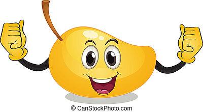 Mango - Illustration of a single mango with face