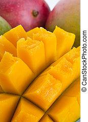 Mango - Extreme close-up image of mango fruit studio...