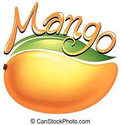 Mango food label on white