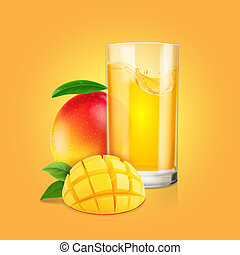 Mango fruit , a glass of juice with slices realistic illustration