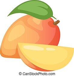 Mango fruit vector illustration. - Slices of mango fruit and...