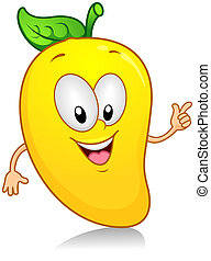 Illustration of a Mango Character Gesturing Something with its Arm