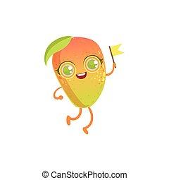 Mango Girly Cartoon Character. Childish Design Sticker With ...