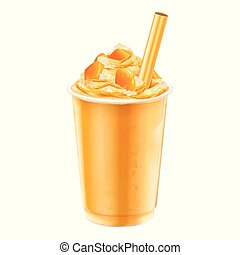 Mango ice shaved takeout cup - Isolated mango ice shaved...