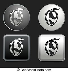 mango icon on round and square buttons