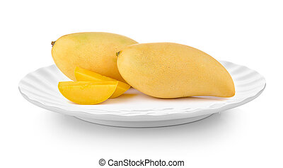 mango in plate on white background