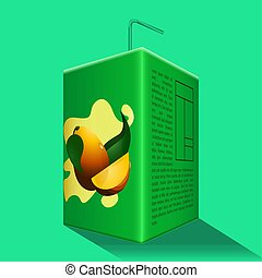 Mango juice box on a colored background - Vector