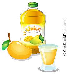 Mango juice drink - Illustration of a mango juice drink on a...