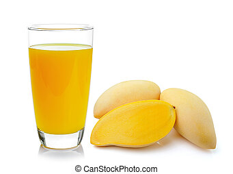 mango juice in a glass over white background