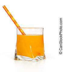 mango juice in glass on white
