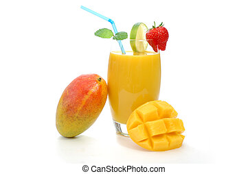 Whole mango resting on a glass with juice