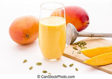 Mango Milkshake, Two Mangos And Fruit Slices - Homemade ...