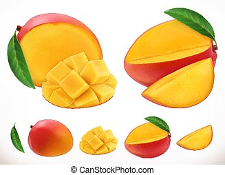 mango., owoc, realistyczny, wektor, świeży, 3d, ikona