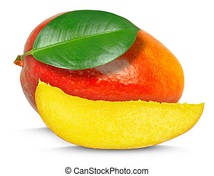 mango with leaf and slice isolated on white