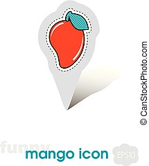 Mango pin map icon. Mango tropical fruit sign