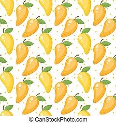 Mango seamless pattern, endless background, texture. Fruits . Vector illustration