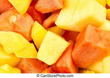 Mango slices  - mango and papaya slices