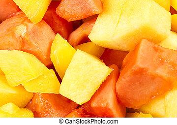 Mango slices - mango and papaya slices