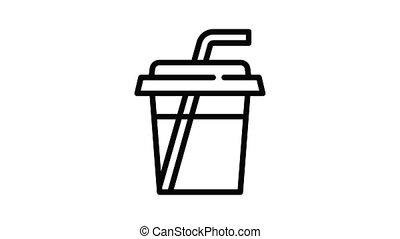 Mango smoothie icon animation outline best object on white background